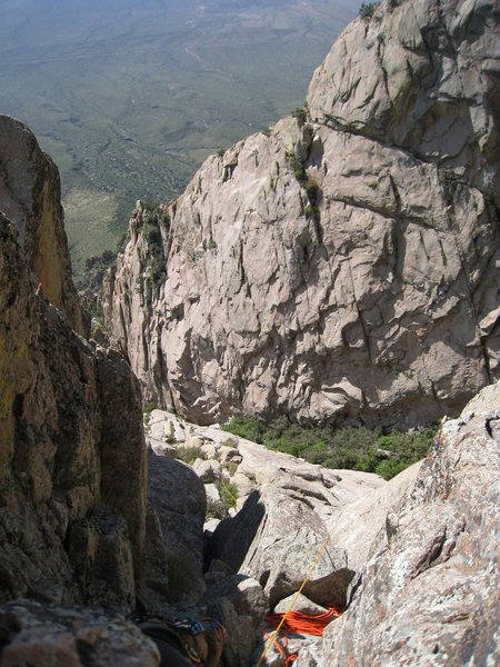 Looking down on P1 from the P2 belay.