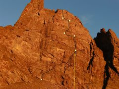Rock Climbing Photo: The line we took, in black, 8-28-10. The approxima...