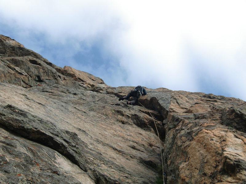 Rock Climbing Photo: Matt Cohen leading our pitch 2. Excellent 5.10 cor...