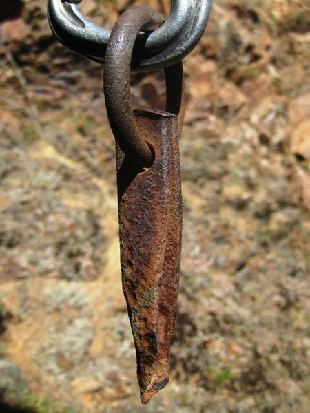Rock Climbing Photo: Rusty old pin from Goodro's Chimney
