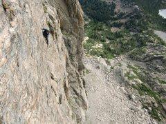 Rock Climbing Photo: Matt Cohen enjoying the exposure, pitch 3. 8-28-10...