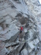 Rock Climbing Photo: Blurry photo of Brian on the FA.  (umm, clean your...