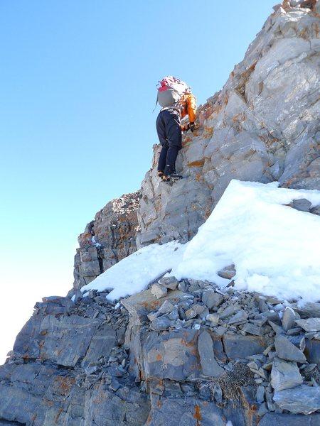 Up the rock step on Everest Ridge