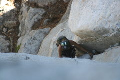 Rock Climbing Photo: Agina coming up pitch one.