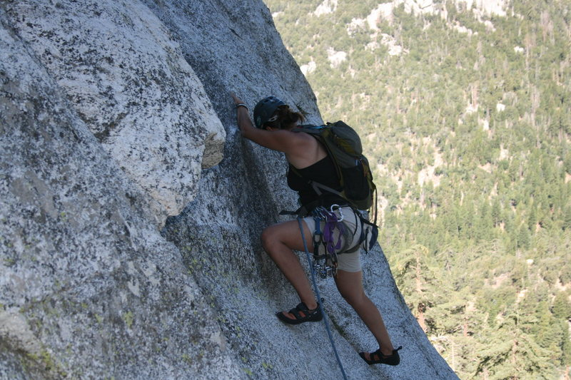 Rock Climbing Photo: Agina leading out on pitch two.