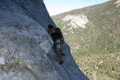 Rock Climbing Photo: Agina stepping up into this fun move that gets you...