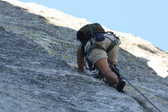 Rock Climbing Photo: Agina into the fun crack climbing of pitch two.