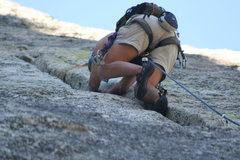 Rock Climbing Photo: Agina into the fun crack climbing of pitch two.