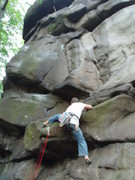 Rock Climbing Photo: About to belly-flop my way over the first overhang...