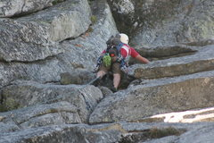 Rock Climbing Photo: Nathan Fitzhugh on pitch one almost to the belay.