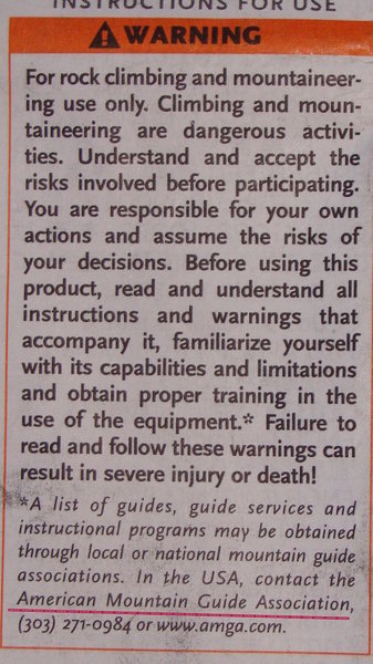 Rock Climbing Photo: Standard info on gear suggesting AMGA guide.