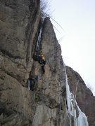 Rock Climbing Photo: Negotiating the chockstone on Jake Brake, M5, Wolf...