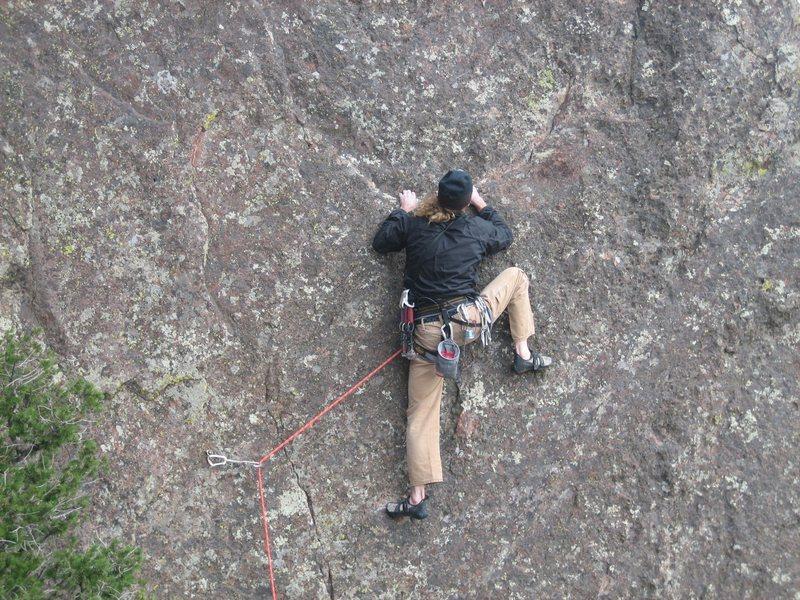 Michael Cichon on Wide Country 5.11R, Bastille, Eldorado Springs Canyon