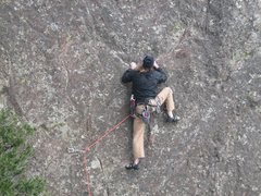 Rock Climbing Photo: Michael Cichon on Wide Country 5.11R, Bastille, El...