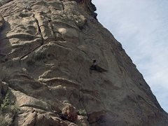 Rock Climbing Photo: Janice over the roof (crux) of The Overleaf 5.8, E...