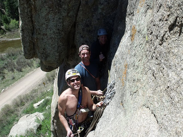 Don completing Blossoming Bosoms 5.9 and meeting Paul Obanhein and BJ  at the anchors - Pine Cone Dome.