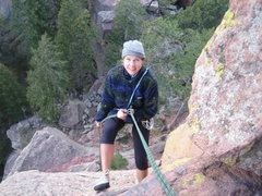 Rock Climbing Photo: Christine on 3rd rappel to terra firma.