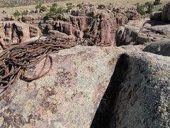 Rock Climbing Photo: On top of Summer Shade with anchors and chains.