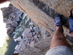 Rock Climbing Photo: Upper dihedral with the North Platte River below.