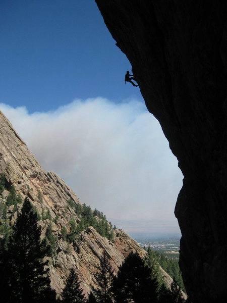 The west face of the Slab is steep. Note early smoke from the Four-Mile Canyon fire, 9/6/10.