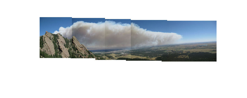 Rock Climbing Photo: Composite panorama of the Four Mile Canyon fire, 9...
