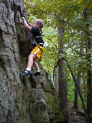 Rock Climbing Photo: The Boy on a new project at Group B.