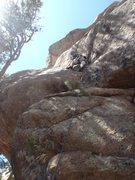 Rock Climbing Photo: Pat on the lower cracks of Frightline.