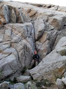 Rock Climbing Photo: Brenda below the V-corner direct start to East Sla...