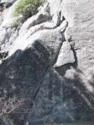 Rock Climbing Photo: Hanging Flake route follows hand crack up to the &...