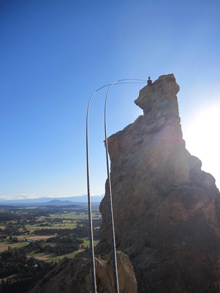 Rock Climbing Photo: Rappelling down the way indicated in the guidebook...