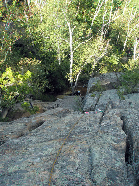 Rock Climbing Photo: Looking down Good Dough from top belay.  It looks ...