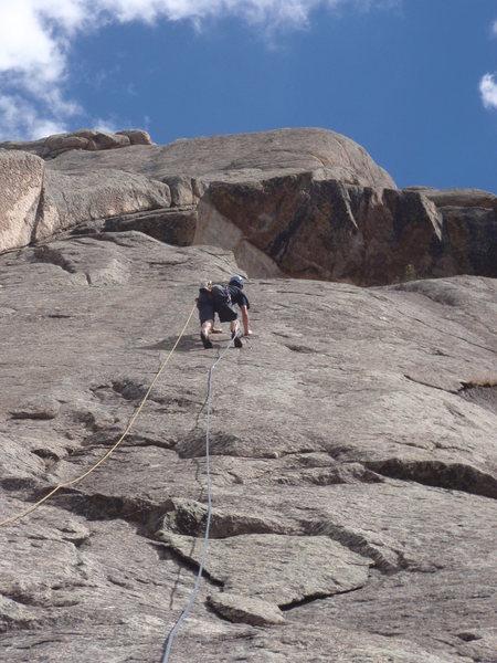 Rock Climbing Photo: Pat cruising up Ribeye Flake.