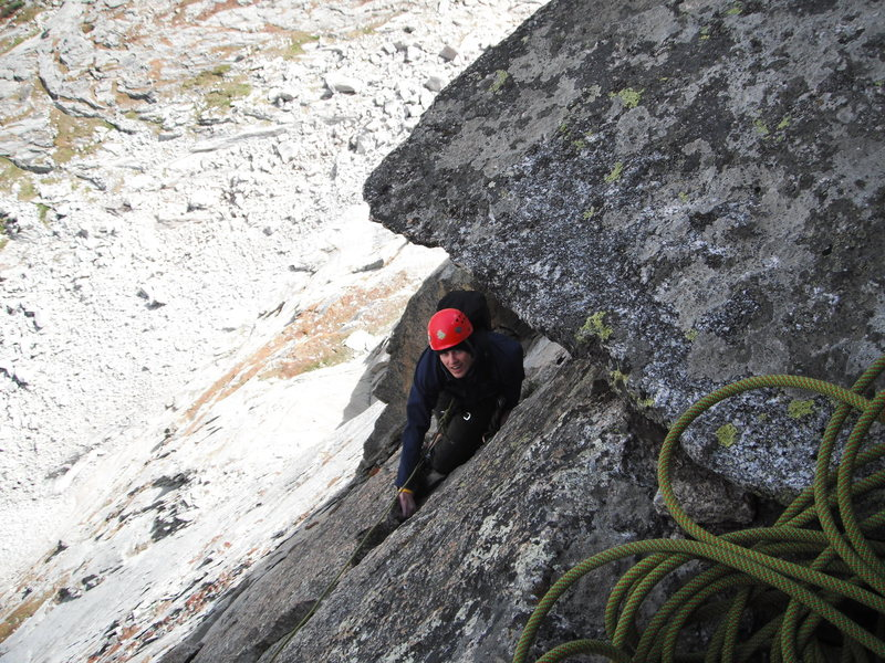 approaching the belay for the crux pitch of Syke's Sickle