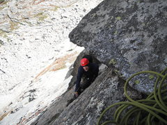 Rock Climbing Photo: approaching the belay for the crux pitch of Syke's...