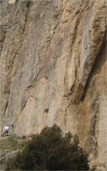 Rock Climbing Photo: Powderfinger, on the left side of the Killer Cave....