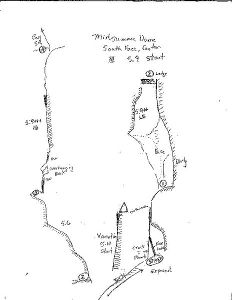 Topo of Midsummer dome south face center dihedral route