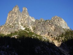 Rock Climbing Photo: Looking up at SEWS (left) and NEWS (right) from th...
