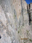 Rock Climbing Photo: Leaving the finger crack for the first traverse on...