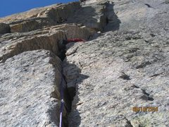 Rock Climbing Photo: Getting swallowed by the first squeeze chimney on ...