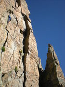 Rock Climbing Photo: Leading the third pitch. The Foil is in the backgr...