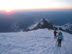 Rock Climbing Photo: Sunrise from Mt Rainier, just above the DC.
