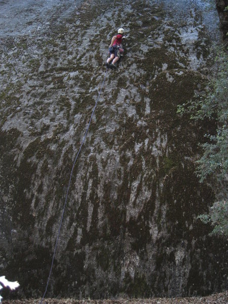 Rock Climbing Photo: The first bolt is above my head and to the right, ...
