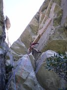 Rock Climbing Photo: The red line follows the approximate path, the res...