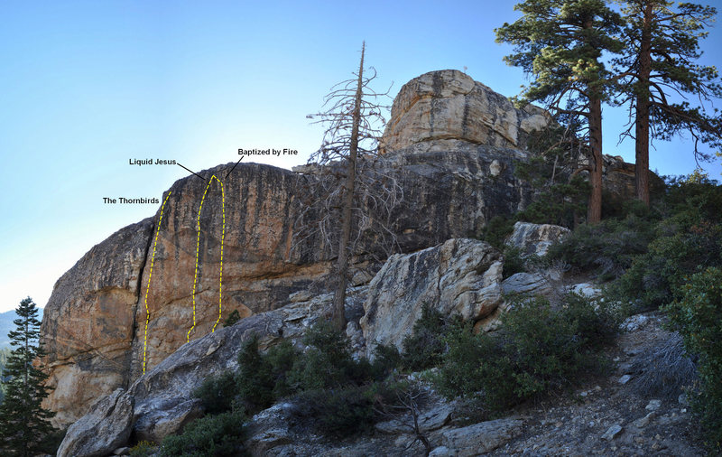 Rock Climbing Photo: Location of routes on the east face taken from the...