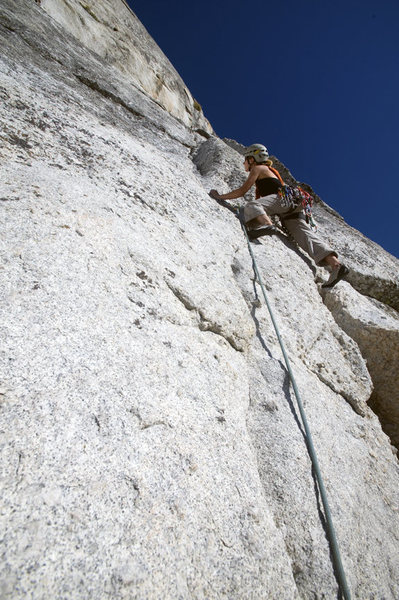 Rock Climbing Photo: Claire Rasmussen moving past pitch one crux at bol...