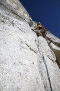 Claire Rasmussen moving past pitch one crux at bolt...