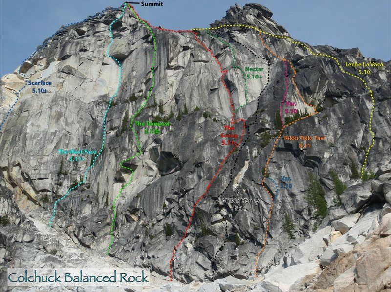 Routes on Colchuck Balanced Rock as of 09-2010