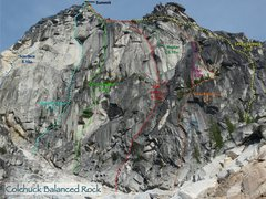Rock Climbing Photo: Routes on Colchuck Balanced Rock as of 09-2010
