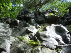 Rock Climbing Photo: Go up the slab in the sun and directly over the ov...