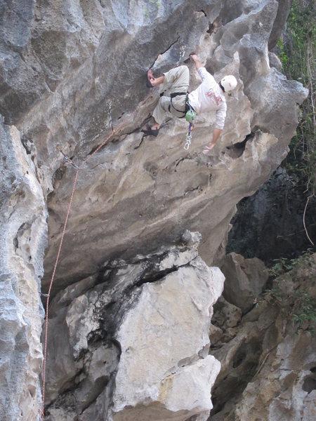Rock Climbing Photo: Barefoot Vietnamese, 5.10d, Ha Long Bay, Vietnam